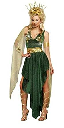 Womens Adult Sultry Medusa Green & Gold Halloween Costume-size S, M, L & XL (S)