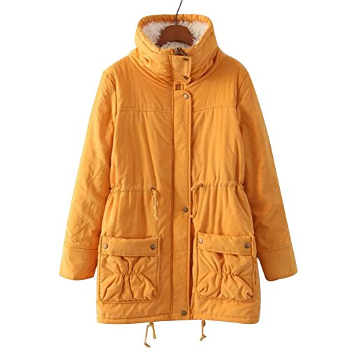 Aro Lora Women's Winter Warm Faux Lamb Wool Coat Parka Cotton Outwear Jacket (XXXL, Yellow) (Coat Winter Yellow)