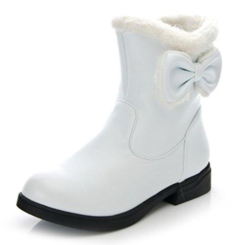 LongFengMa Women's Flat Heel Sweet Bowtie Snow Boots White