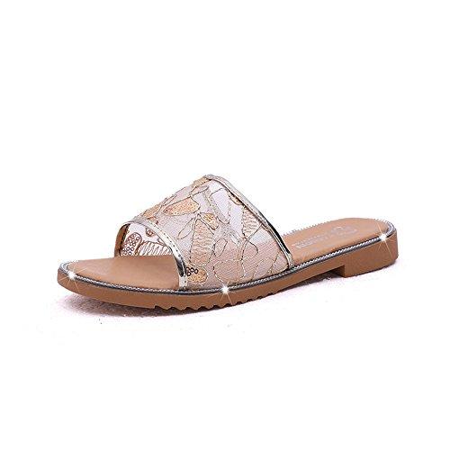 Queena Wheeler Fashion Summer Slipper Sandals Women Casual Beach Flip Flops Slides Shoe Flat Plus Size Gold