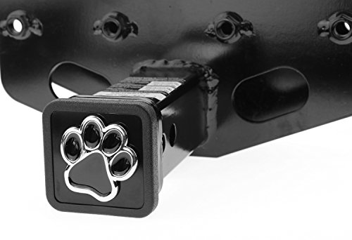 """3D Chrome Emblem Trailer Hitch Cover Tube Plug Insert (Fits 2"""" Receivers, Bear Dog Animal Paw Foot)"""