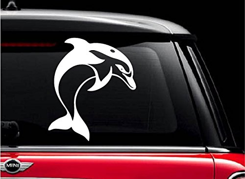 Dol phin white 5 vinyl decal sticker for car automobile window wall
