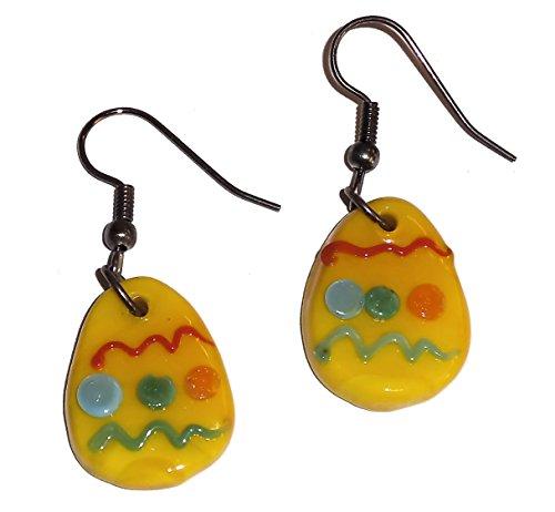 Fused Glass Yellow Easter Egg Dangle Earrings