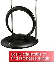 GE Indoor Rabbit Ear HD TV Antenna, Tiltable UHF Circular Loop, 15 inch Dipoles, Supports 4K 1080P VHF UHF, Passive Indoor,