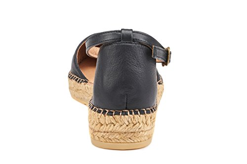 Closed Strap Ankle Black Conca Flats Toe In Leather Espadrilles VISCATA Spain Made Sandal FqXTntwIU