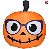 Gemmy 5' Airblown Inflatable Nerdy Jack-O-Lantern Pumpkin w/Glasses Yard Decoration 224143
