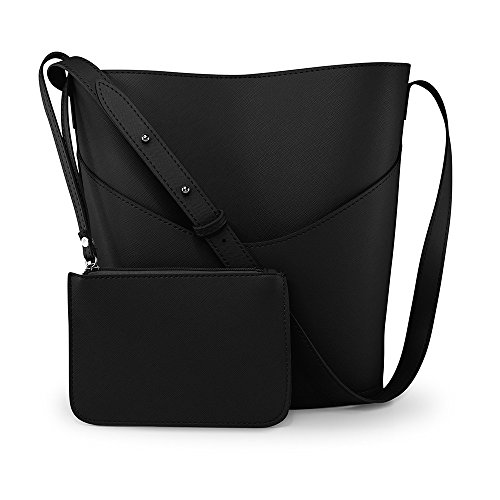 Oct17 Women Faux Leather Bucket Tote Shoulder Bag Fashion Ladies Handbag Purse with Small Bag - Black