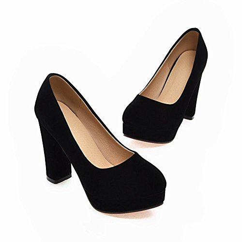 Mee Shoes Damen reizvoll runder toe Plateau Nubukleder Pumps Party-Schuhe Schwarz