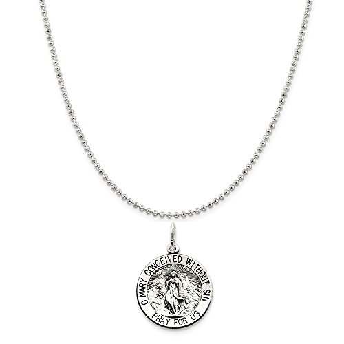 Sterling Silver Antiqued Blessed Mother Medal on a Sterling Silver Ball Chain Necklace, ()