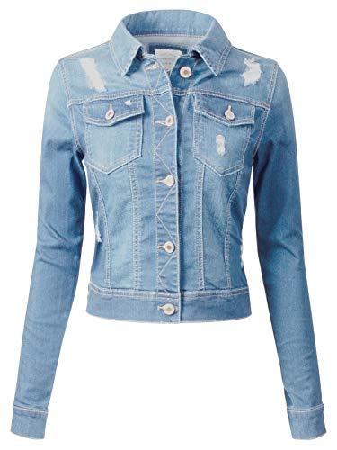 bc26cae200 Instar Mode Women s Long Sleeve Crop Top Button Up Comfort Stretch Denim  Jacket Light Denim M