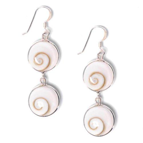 81stgeneration Women's .925 Sterling Silver Double Drop White Shiva Eye Spiral Shell Dangle Earrings