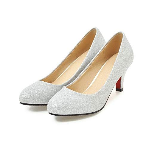 Chaussures GMBDB013246 Argent Légeres Cuir AgooLar Correct Talon Rond Couleur à Femme Unie PU qxxw7APpcz
