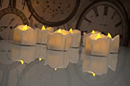 Exquisite LED Amber Yellow Battery Tea Lights in Bulk, Flameless No Flickering Battery Operated Tealights, Unscented Fake Candles with Timer (6 hours on) for Christmas, Wedding and Home Decoration