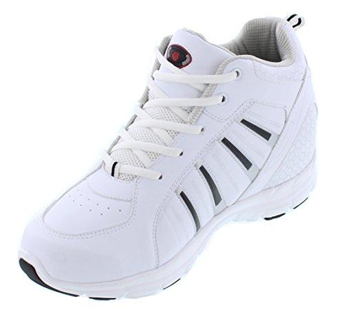 Calden - K33291 - 3,8 Pouces De Hauteur - Hauteur Augmentant Les Chaussures Dascenseur (chaussures De Tennis Blanches À Lacets)
