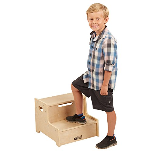 ECR4Kids Boost Me Up Step Stool, Two Step Wood Stepping Stool for Kids and Toddlers -