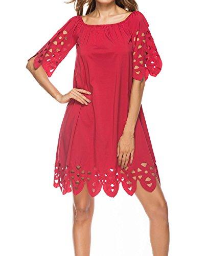 Monika Verano Mujeres por la Rodilla Vestido Casual Colores Lisos Hueco Vestido de Playa Moda Cuello Barco Media Manga Vestidos de Partido Cóctel Fiesta