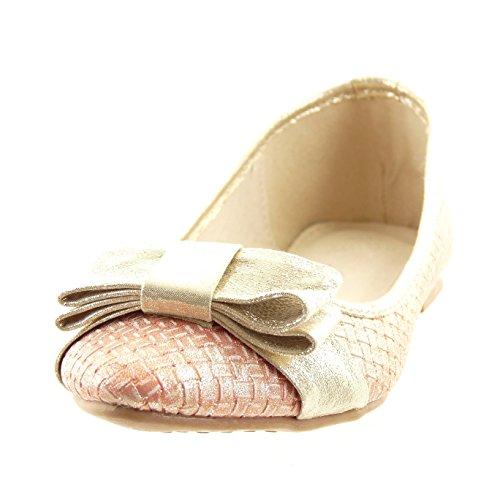 Sopily - Zapatillas de Moda Bailarinas Tobillo mujer nodo dorado Talón Tacón ancho 1 CM - plantilla sintético - Rosa