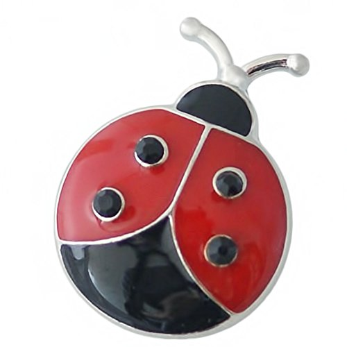 (Lovmoment Snap 20MM Ladybug Snap Silver Plated with Enamel Snaps Jewelry Charms)