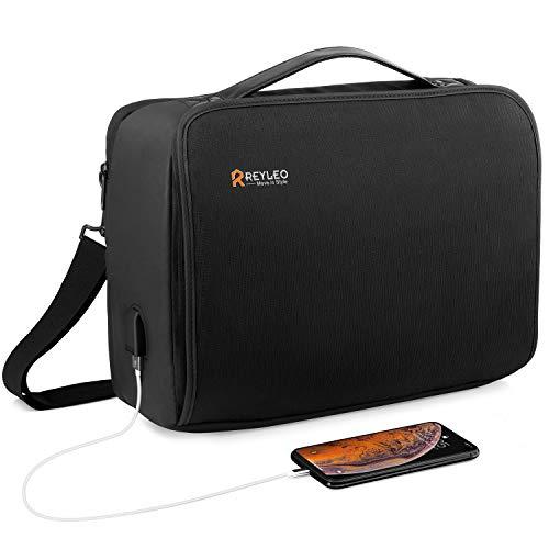 REYLEO Laptop Briefcase, 15.6 Inch USB Mens Messenger Bag, Waterproof Travel Business Shoulder Bag with Luggage Strap for Men Women School Fits MacBook HP Dell Lenovo Notebook Tablet, Black