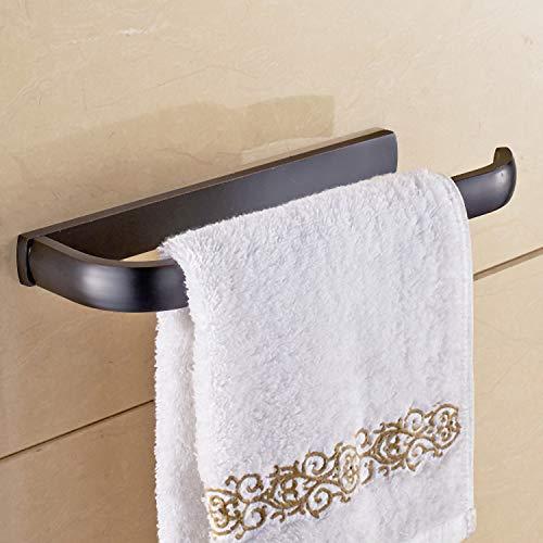 IANXI Home Black Simple Black Towel Ring Platinum Towel Rack Single Rod Towel bar Black Ancient Brush Rod Bathroom Pendant