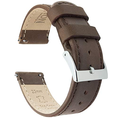 Barton Quick Release - Top Grain Leather Watch Band Strap - Choice of Width - 16mm, 18mm, 19mm, 20mm, 21mm 22mm, 23mm or 24mm - Saddle Brown 20mm