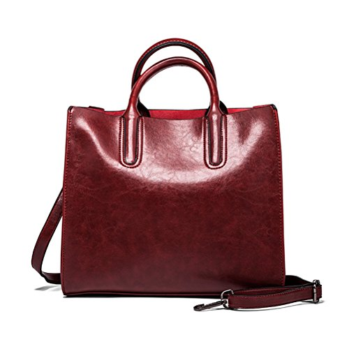 Oudan Red Wax Leather Big Red One Leather color Dark Size Bag Shoulder Wine Time Leather Bag Shoulder Woman Shoulder Size Bag ff4rqH0