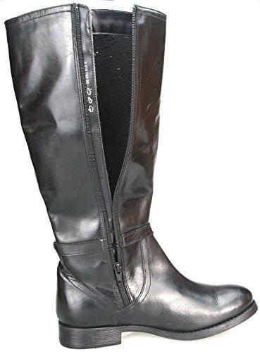 Véritable En Haute Zip Pour Cowboy Femme Genou Souple Ou Noir Mesdames Bloc Talon Bottes Marron Cuir TAIAw