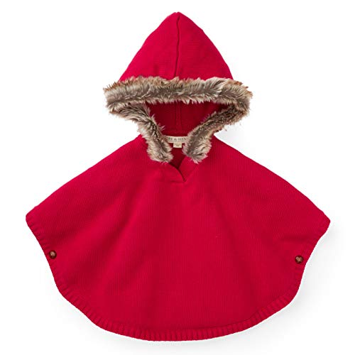 Hope & Henry Girls' Fur Trimmed Red Sweater Cape (Red Sweaters Girls)