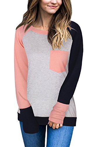 Womens Long Sleeve Shirts Crew Neck Baseball Tee with Pocket Pink (Winter Crew Shirt)