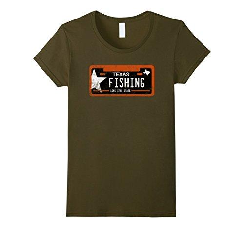 Womens Fishing Shirt Texas License Plate Medium Olive