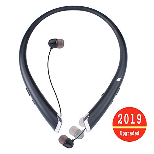 Bluetooth Headphones, Wireless Headset Retractable Earbuds Neckband Sports Sweatproof Earphones with Mic by ZSW Tech (2019 Upgraded Version, 15 Hours Play Time) (Black)