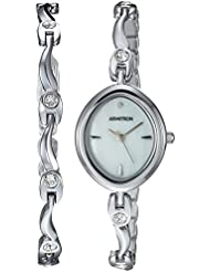 Armitron Womens 75/5543MPSVST Swarovski Crystal Accented Silver-Tone Watch and Bracelet Set
