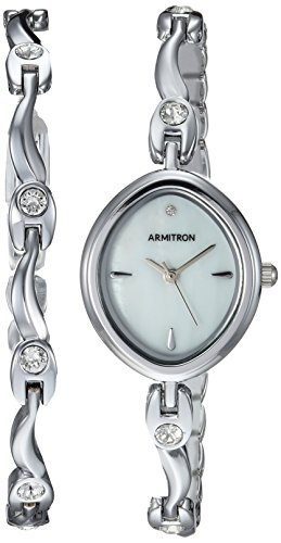 - Armitron Women's 75/5543MPSVST Swarovski Crystal Accented Silver-Tone Watch and Bracelet Set