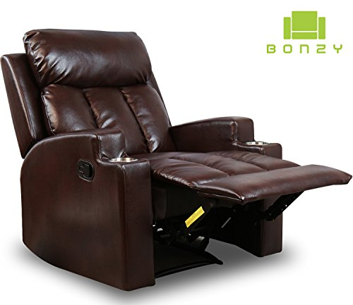 BONZY Recliner Chair Contemporary Theater Seating two Cup Holder Brown Leather Chairs for Modern Living room Durable Framework (Theater Furniture Seating)