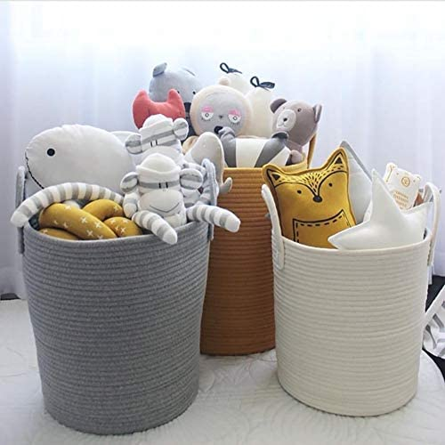 Mojesse Cotton Rope Woven Storage Baskets Household Goods Toy Storage Bag Candy Storage Bins Baby Laundry Hamper and Diaper Box with Handles.