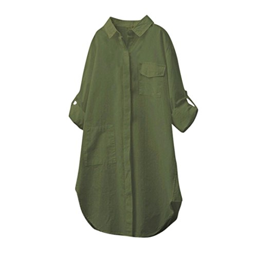 Hauts Robe Femmes Blouse Lin Chemise YUYOUG Chemises Longues Army Rtro Manches Occasionnel Coton Chic Green Chemisier Longue 6WrFT6