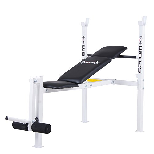 Body Champ WB125 Beginner and Light Lifting Standard Weight Bench with Leg Lift Curl Developer Extension Attachment
