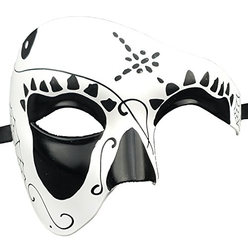 Xvevina Mask Day of The Dead Mask Dia de Los Muertos Mascarade Mask Unisex (Black Halloween) (Muertos Mask Los Dia De)