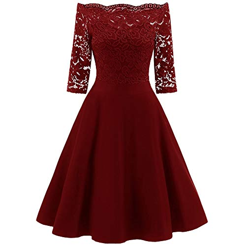 KCatsy Off Shoulder Floral Lace Panel Dress Red Wine