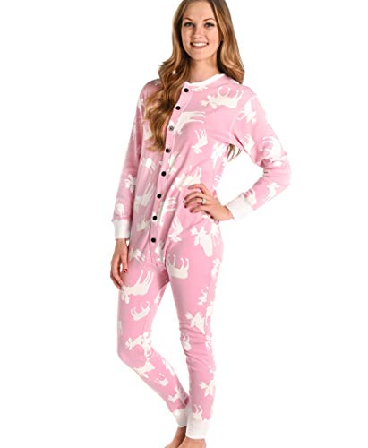 Classic Moose Pink Adult Flapjack Onesie Pajamas by LazyOne | Adult Kid Infant Dog Family Matching Pajamas (Small)