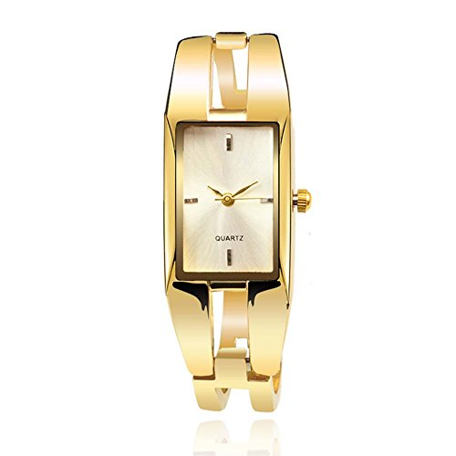 ChezAbbey Women's Original Elegant Square Dial Quartz Bangle Wrist Watch with Alloy Watch Strap, White Dial