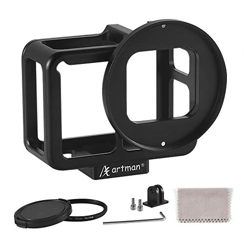 Artman Aluminum Alloy Housing Hollow Frame Case for Gopro Hero 7 Black/Hero 6/Hero5/Hero(2018) Action Camera-Good GPS/Wi-Fi Signal Receiving, Metal Protective Frame with Back Door and 52mm UV Filter ()