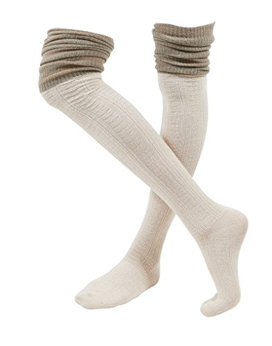 Two Tone Striped Socks (WowFoot Ladies' Knit Over The Knee High Socks Women Slouch Stockings (Two-tone :)