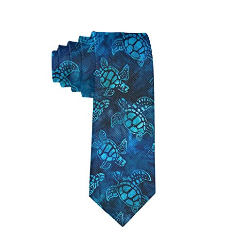 MrDecor Unisex Watercolor Blue Sea Turtle Silk Necktie Men Skinny ()