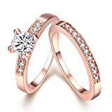 Aooaz Jewelry Promise Ring 18K Rose Gold Plated Ring Set Cubic Zirconia CZ Half Eternity Ring Bridal Ring
