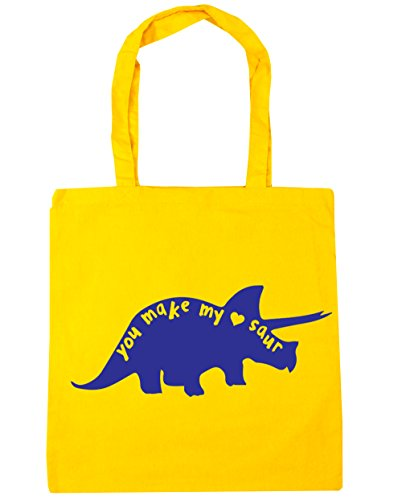 Cute Gym Saur Bag Yellow Heart x38cm Shopping Tote litres Beach You 10 42cm My Make Dinosaur HippoWarehouse 4xPwgWnwB