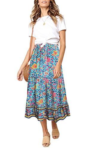 ZESICA Women's Bohemian Floral Printed Elastic Waist A Line Maxi Skirt with Pockets Green ()
