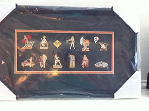 Hooters Restaurant Rare Enamel Label Pin Framed Collection. Includes SURFBOARD RACE –HOOTIE – CHEERLEADER - BUMPS – BIKE and more. 12 Pin set Professionally Framed.