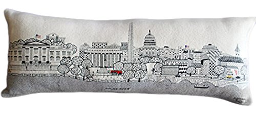 Washington Pillow (Beyond cushions Washington D.C. Embroidered Skyline Cushion Cover, Day Time, Queen Size)