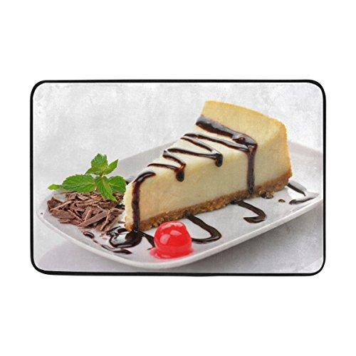 TIANYUSS Cheesecake Cake Slice Sweet Pastry Dessert Chocolate Frosting Cherry Doormat Indoor Outdoor Entrance Floor Mat Bathroom 23.6 X 15.7 Inch